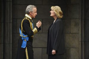 King Charles III (Robert Joy) tells Camilla (Jeanne Paulsen) about his meeting with the House of Commons in Mike Barlett's award-winning play, King Charles III, playing at A.C.T.'s Geary Theater through Sunday, October 9.